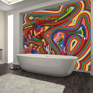 Peinture murale de Guillevic pour une salle de bains
