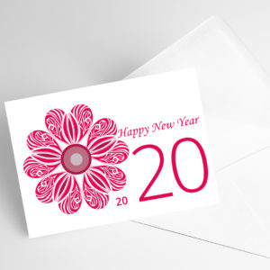 Carte avec rose rouge et inscirption happy new year 2020.