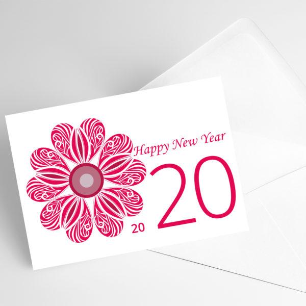 Carte avec rose rouge et inscirption happy new year 2020.