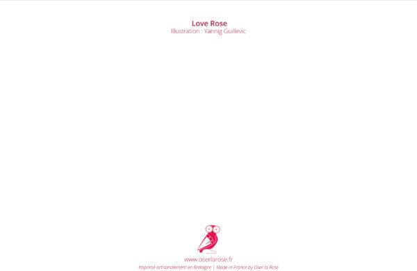 Côté verso de la carte de voeux 2020 avec titre Love Rose et chouette.