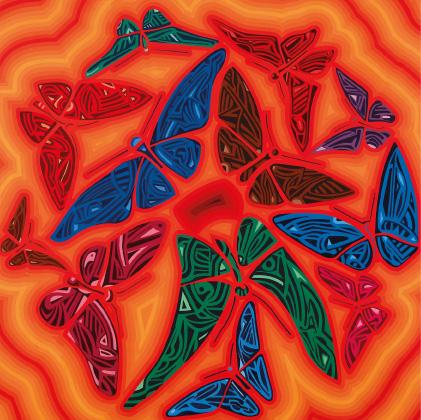 Papillons en couleur pour cette carte boutique OSER LA ROSE