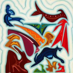 La peinture de Guillevic est identifiable à son utilisation des couleurs et la fragmentation de ses formes