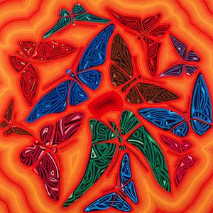 Peinture à l'huile représentant des papillons ailes déployées. OSER LA ROSE